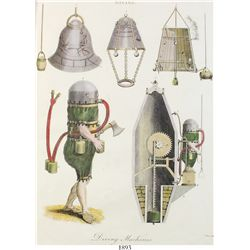 Matted copperplate engraving (hand colored) of diving machines from an 1803 publication.