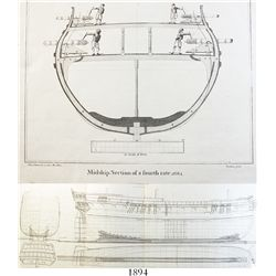 Lot of 2 ship diagrams (East Indiaman 1816, and fourth rate 1684) from 1800s publications.