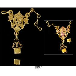 Small, ornate gold pendant with receptacle at bottom for gemstone (missing, bottom piece separate),