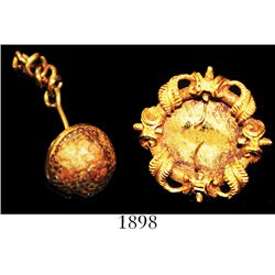 Lot of two small gold items: dress-mount with ornate border and circular space for gemstone, and hem