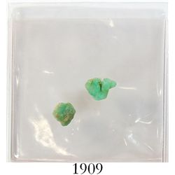 Lot of 2 small, natural emeralds, 1.59 and 1.06 carats.