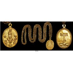 Important gold religious medallion and chain with full research.