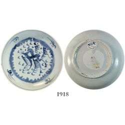Chinese blue-on-white porcelain plate (shallow bowl), dragon motif.