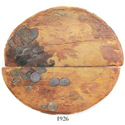Wooden cask base encrusted with 6 English East India Co. copper X cash, 1808, as found, unique and d
