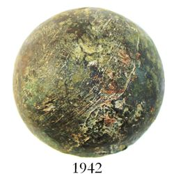 Small bronze cannonball (4-pounder), Spanish colonial (1600s-1700s), from a colonial site in the wes