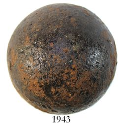 Large iron cannonball, probably 1700s.