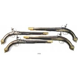 Lot of 2 Eastern European long-barreled flintlock pistols, 1700s.
