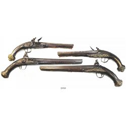 Lot of 2 Eastern European flintlock pistols, 1700s.
