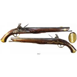 Large, Prussian flintlock pistol, mid-1700s to early 1800s, marked PaTZDAM MAGAZ on lockplat