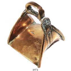 Spanish colonial bronze stirrup, 1600s, found in Peru.
