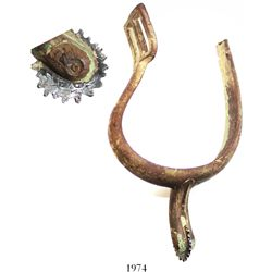 Ca.-1864 Union cavalry stirrup (brass, model 1859 lightweight type) with replacement rowel made from