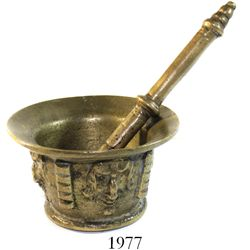 Spanish colonial mortar and pestle, brass, 1600s.