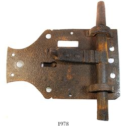 Large iron door lock, Spanish colonial (1600s-1700s), found at a colonial site in the southern Carib