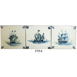 Lot of 3 Dutch blue-on-white porcelain tiles depicting East Indiamen, early 1800s.