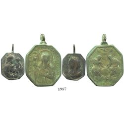 Lot of 2 Bronze religious medallions (one large, one small), 1600s-1700s.