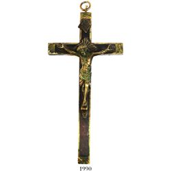 Large, French bronze-ebony crucifix, early 1800s.