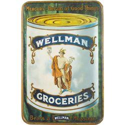 Wellman Groceries Self Framed Tin Sign