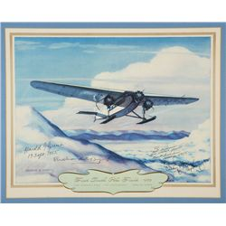 BYRD, Richard E. - First South Pole Flight - 1929 - Signed Lithograph
