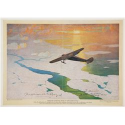 BYRD, Richard E. - Through Pathless Skies to the North Pole - Signed Lithograph