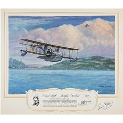 HALL, Ernest - Ernest Hall - Wright  Aeroboat  1915 - Signed Lithograph