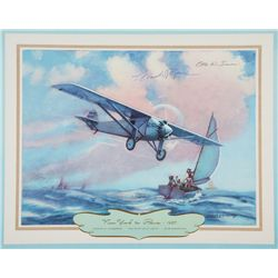 LINDBERGH, Charles - New York to Paris 1927 - Signed Lithograph