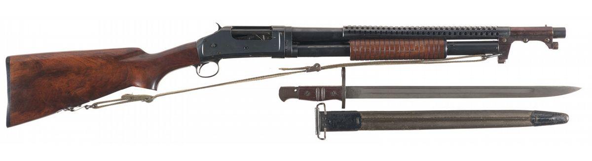 U S  Marked Winchester Model 1897 Takedown Riot Shotgun with Bayonet