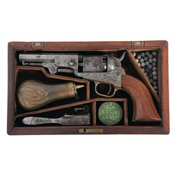 Cased Engraved Colt Model 1849 Percussion Pocket Revolver with Accessories