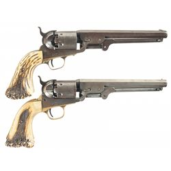Collector's Lot of Two Colt Model 1851 Navy Percussion Revolvers with Stag Grips