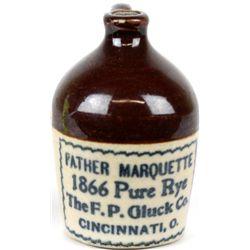Antique miniature adv. crock jug Father Marquette