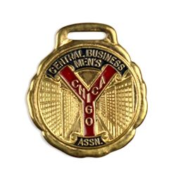 Antique advertising watch fob in brass and enamel