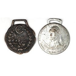 Collection of 2 antique adv watch fobs includes