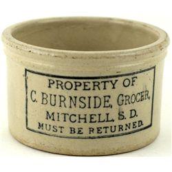 Antique adv butter Crock C. Burnside Grocer