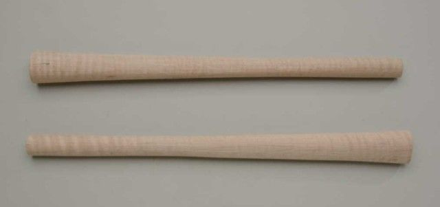 """Pair of unfinished flame maple axe handles, each approx  20"""" in length,  great for use as blanks fo"""
