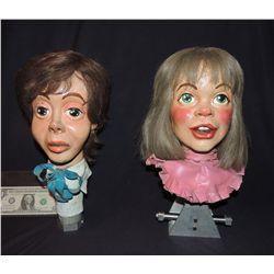 DISNEY THE BEATLES PAUL & LINDA MCCARTNEY VINTAGE 70's ANIMATRONIC CARICATURE HEADS