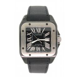 WATCH: (1) Stainless steel & Titanium Gents Cartier Santos 100 automatic watch, with black dial, and