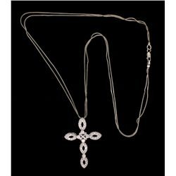 NECKLACE: (1) 18k WG 18  double snake chain with 18k WG cross pendant set with 45 round diamonds, es
