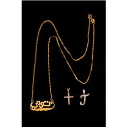 "PENDANT: (1) 10k WG initial ""J"" pendant set with 18 rd diamonds, est. 0.15 cttw, J, I1-I2;  1.3 gram"