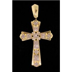 "PENDANT: (1) Unisex 14ky&w ""invisible"" set diamond cross pendant; 168 sq. prin diamonds, 1.5mm = est"