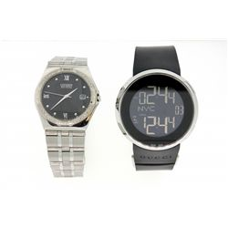 WATCH: (1) Men's st.steel Gucci Duo-Time digital wristwatch; 45mm round case; black rubber strap (de