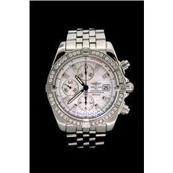 WATCH: (1) Men's st.steel Breitling Chronomat Evolution diamond wristwatch; factory bezel w/ 48 rb d