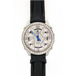 WATCH:  (1) Stainless steel Jacob & Co. 5 time zone quartz watch, mother-of-pearl dial and the bezel