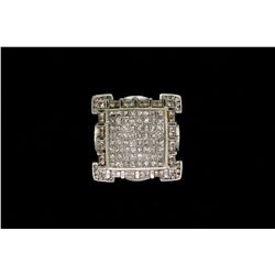 RING:  (1) 14k WG ring by JPM set with rd and princess cut diamonds, TWA 7.72 cts, I/J, SI2-I1; size