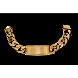 "BRACELET: (1) Men's 14ky link ID bracelet. Approx. 8.25"" L x .75"" W. Total weight 121.6 gram."