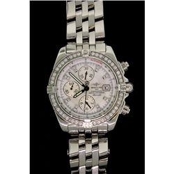 WATCH:  (1) Men's st.steel Breitling WindRider Chronomat Evolution 150 diamond wristwatch; white MOP