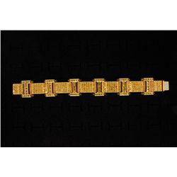 BRACELET: (1) Men's 18ky treated yellow diamond link bracelet; 321 rb diamonds, 2.5mm to 3.5mm = est