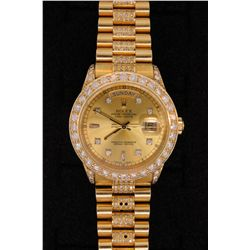 WATCH: (1) Men's 18ky Rolex O.P. Day Date wristwatch w/ aftmkt diamond apptmnts & bracelet; champagn