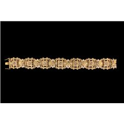 "BRACELET: (1) Men's 14ky diamond link bracelet; ""invisible"" set w/ 63 sq. prin diamonds, 2.0mm = est"