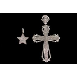 PENDANT: (1) Men's 14kw diamond cross pendant; 306 rd diamonds, 0.9mm = est. 1.50cttw, Fair/H-J/SI2-