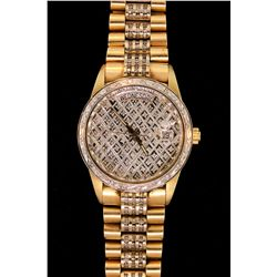 WATCH: (1) Men's 14ky&w Generic (no brand) Day Date diamond wristwatch; 35.9mm round case; 14kw beze