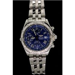 WATCH: (1) Men's st.steel Breitling CrossWind chronograph wristwatch w/ factory diamond bezel; 42mm